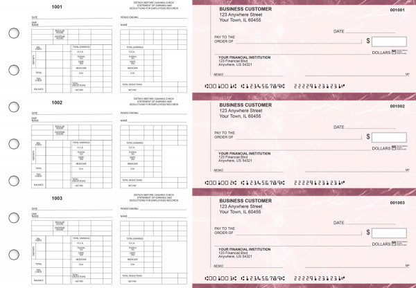 Burgundy Marble Multi-Purpose Counter Signature Business Checks | BU3-7BMA01-MPC
