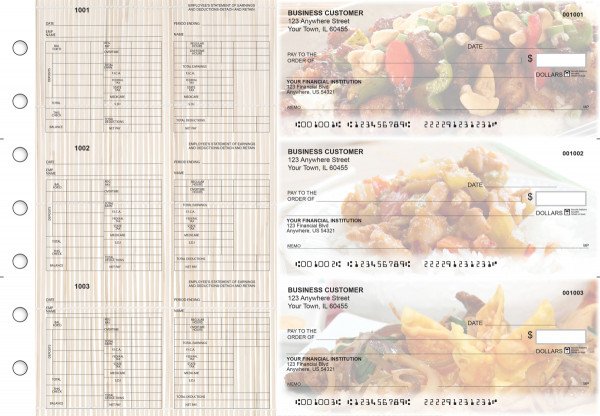 Chinese Cuisine Multi-Purpose Hourly Voucher Business Checks | BU3-7CDS04-MPH