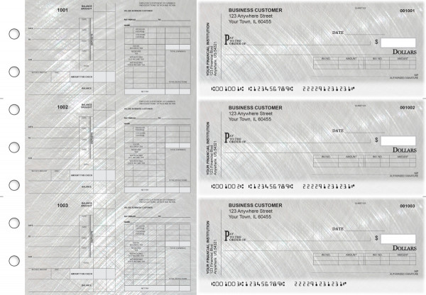 Brushed Metal Payroll Invoice Business Checks | BU3-7CDS23-PIN