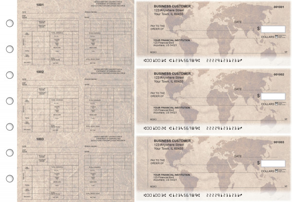 World Map Multi-Purpose Counter Signature Business Checks | BU3-7CDS26-MPC
