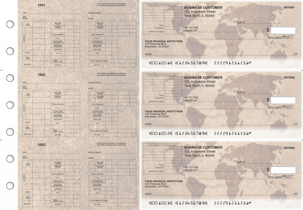 World Map Multi-Purpose Corner Voucher Business Checks | BU3-7CDS26-MPV