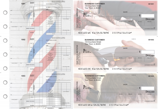 Barber Payroll Invoice Business Checks | BU3-7CDS28-PIN