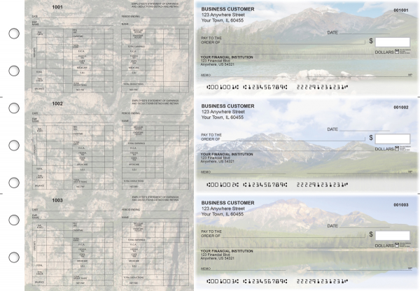 Scenic Mountains Multi-Purpose Hourly Voucher Business Checks | BU3-7CDS29-MPH