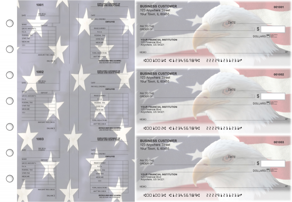 American Flag Multi-Purpose Salary Voucher Business Checks | BU3-7CDS32-MPS