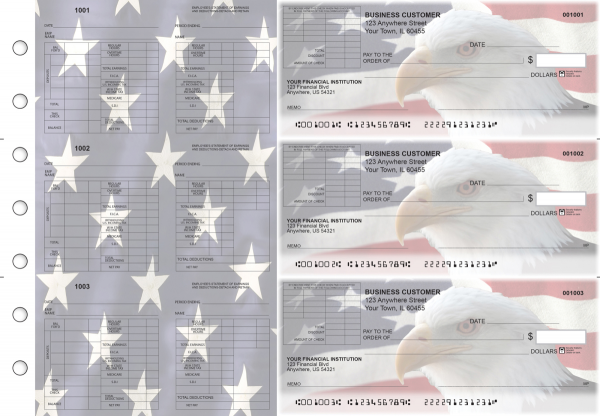 American Flag Multi-Purpose Corner Voucher Business Checks | BU3-7CDS32-MPV