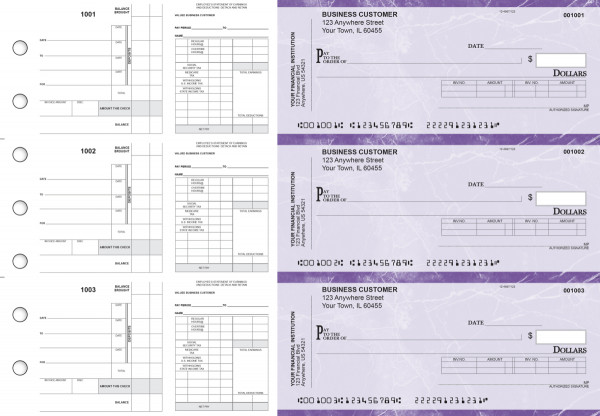 Purple Marble Payroll Invoice Business Checks | BU3-7UMA01-PIN