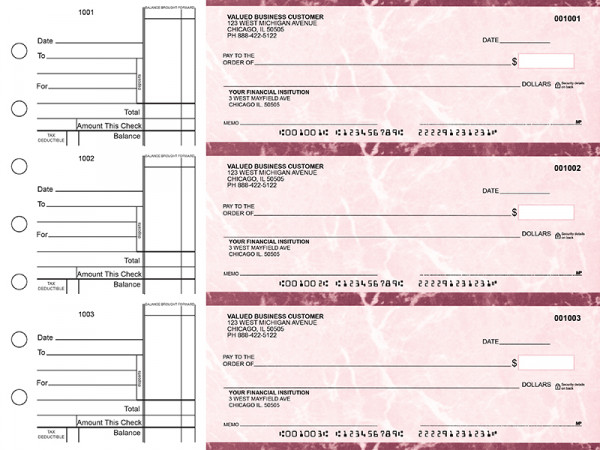 Burgundy Marble Standard Business Checks | BU3-BMA01-STA
