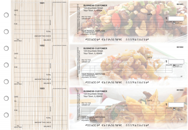 Chinese Cuisine Itemized Counter Signature Business Checks | BU3-CDS04-ICS
