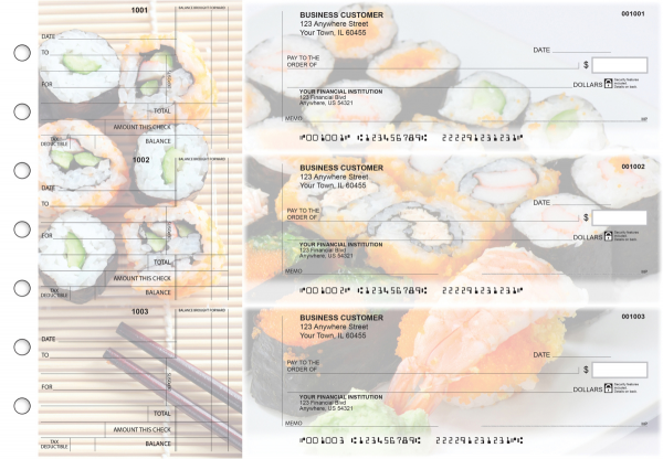 Japanese Cuisine Standard Counter Signature Business Checks | BU3-CDS06-SCS
