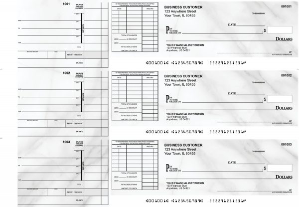 Marble Itemized Invoice Business Checks | BU3-CDS20-TNV