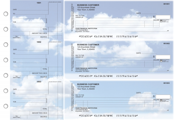 Clouds Itemized Counter Signature Business Checks | BU3-CDS21-ICS
