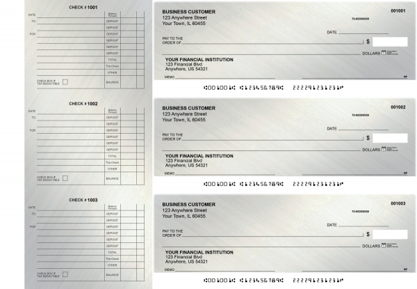 Brushed Metal Accounts Payable Designer Business Checks | BU3-CDS23-DED