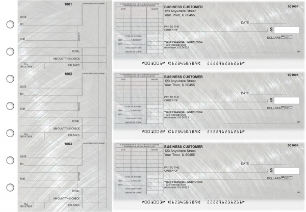 Brushed Metal Standard Itemized Invoice Business Checks | BU3-CDS23-SII