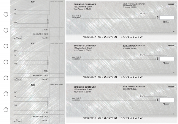 Brushed Metal Standard Mailer Business Checks | BU3-CDS23-SML