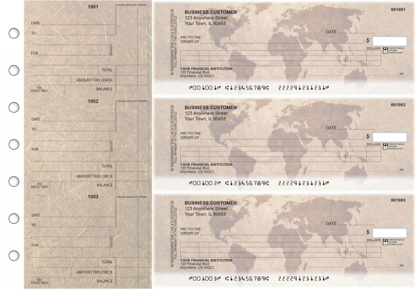 World Map Itemized Counter Signature Business Checks | BU3-CDS26-ICS