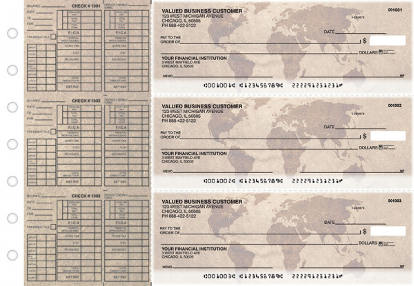 World Map Payroll Designer Business Checks  | BU3-CDS26-PAY