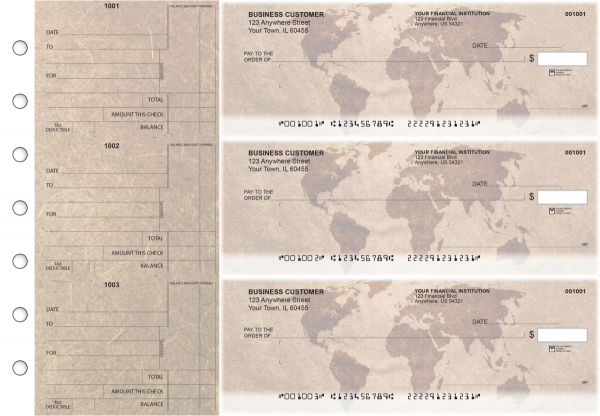 World Map Standard Mailer Business Checks | BU3-CDS26-SML