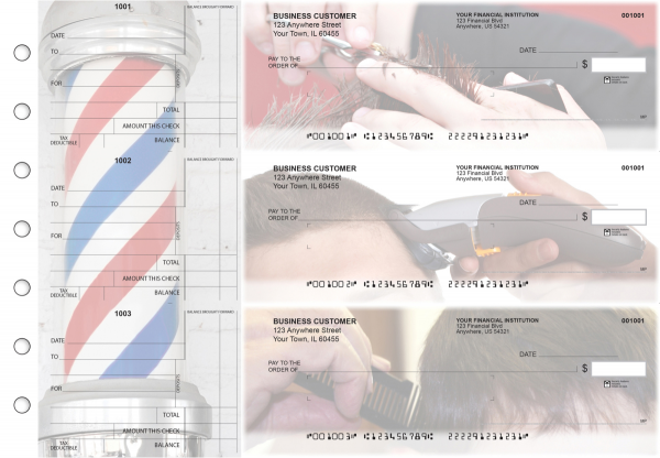 Barber Standard Mailer Business Checks | BU3-CDS28-SML