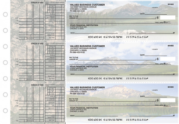 Scenic Mountains Multi Purpose Designer Business Checks  | BU3-CDS29-DEP