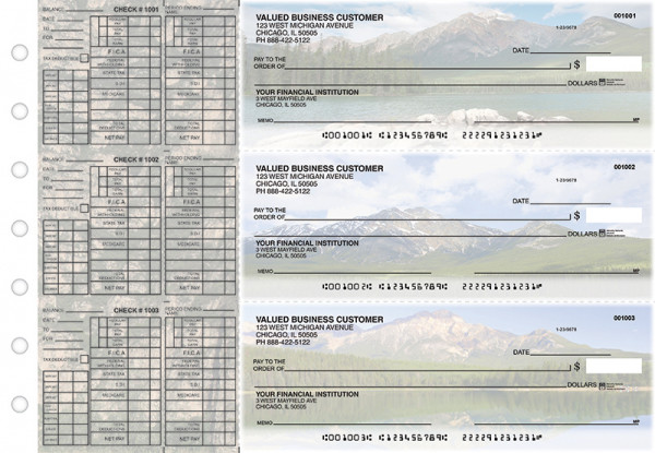 Scenic Mountains Payroll Designer Business Checks  | BU3-CDS29-PAY
