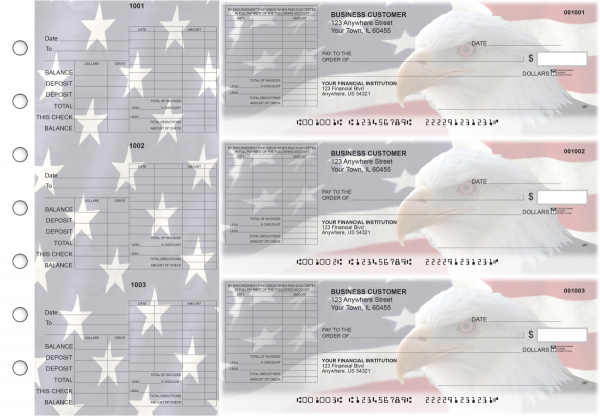 American Flag General Itemized Invoice Business Checks | BU3-CDS32-GII
