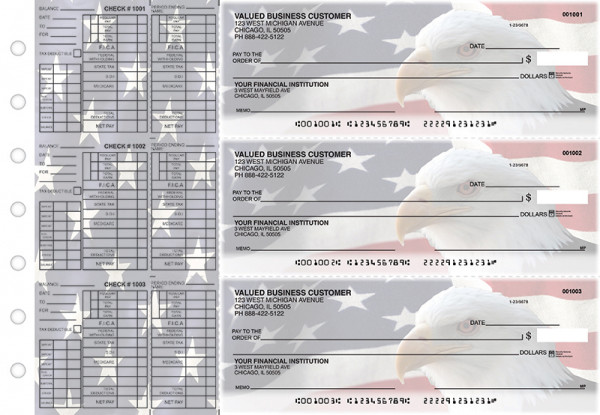 American Flag Payroll Designer Business Checks  | BU3-CDS32-PAY