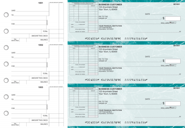Teal Marble Standard Itemized Invoice Business Checks | BU3-EMA01-SII