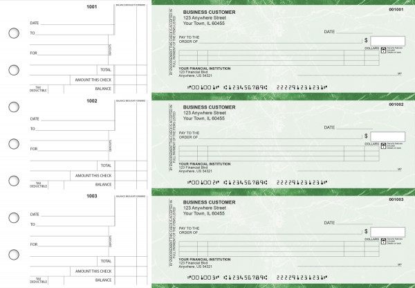 Green Marble Itemized Counter Signature Business Checks | BU3-GMA01-ICS