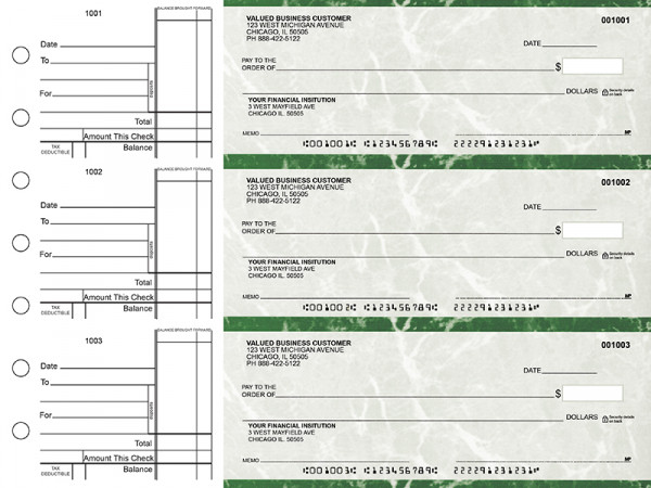 Green Marble Standard Business Checks | BU3-GMA01-STA