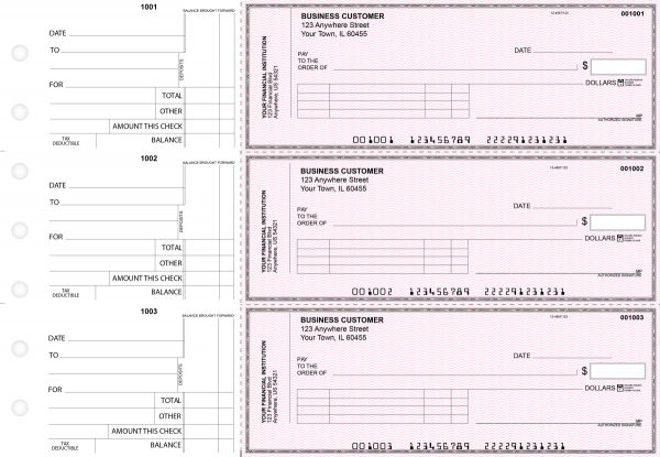 Pink Safety Standard Invoice Business Checks | BU3-PSF01-SNV