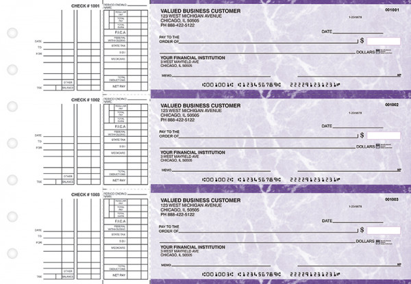 Purple Marble Multi Purpose Business Checks | BU3-UMA01-DEP