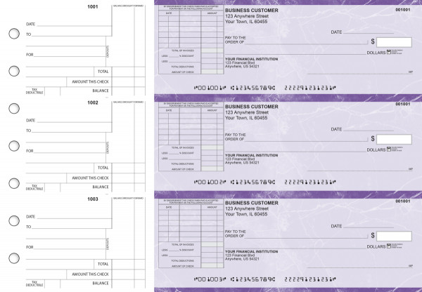Purple Marble Standard Itemized Invoice Business Checks | BU3-UMA01-SII