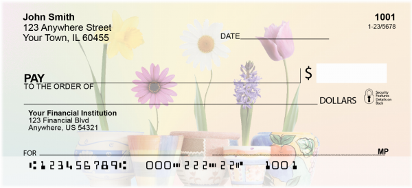 Spring Pots & Flowers Personal Checks | FLO-42