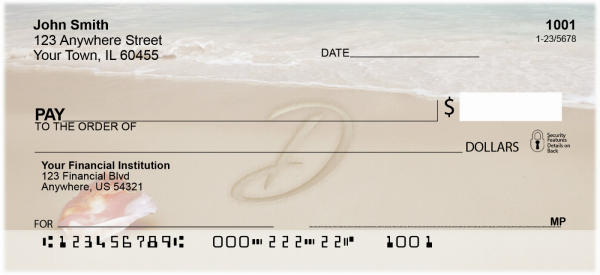 Sand Written Monogram D Personal Checks | MONO-07D