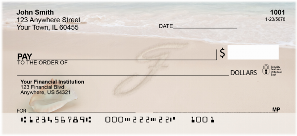 Sand Written Monogram F Personal Checks | MONO-07F