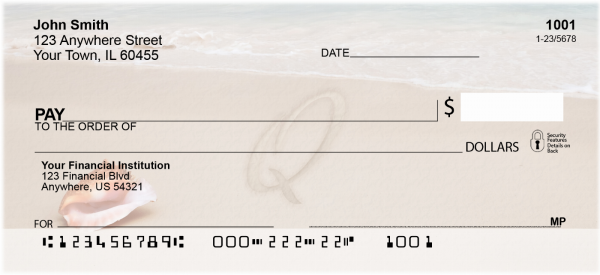 Sand Written Monogram Q Personal Checks | MONO-07Q