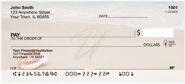 Sand Written Monogram 'U' Personal Checks | MONO-07U