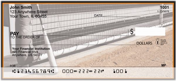 Orange & Black Baseball Team Personal Checks | SPT-16
