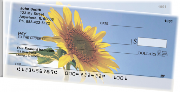 Sunflowers Side Tear Personal Checks  | STNAT-08