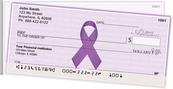 Cancer Awareness Ribbon Side Tear Personal Checks | STRIB-14
