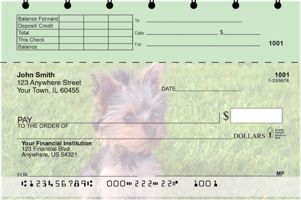 Yorkies Top Stub Personal Checks  | TSDOG-57