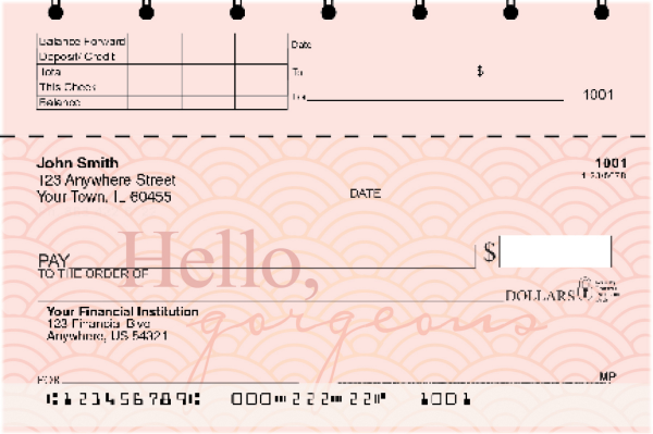 Hello, Gorgeous Top Stub Personal Checks | TSLOV-21