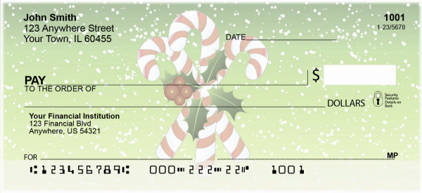 Christmas Candy Canes Personal Checks | XMS-08