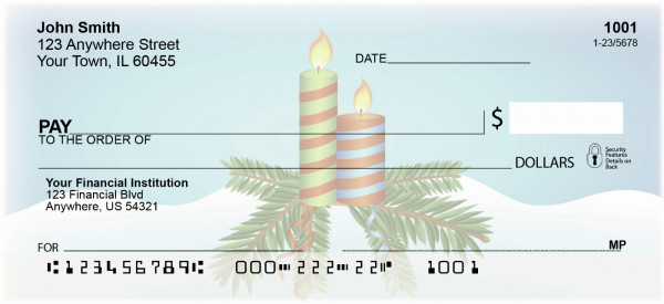 Christmas Candles Personal Checks | XMS-19