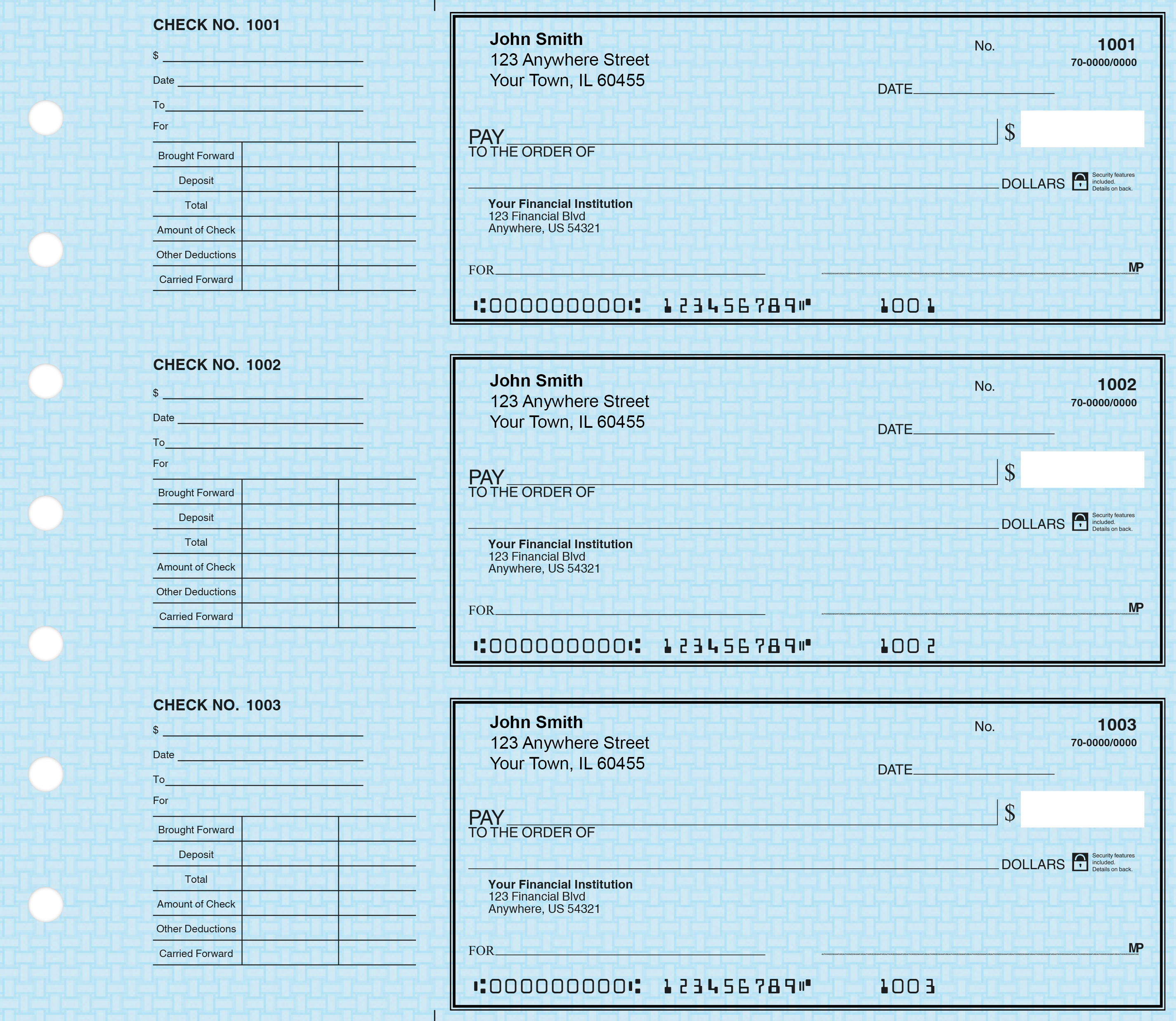 Deskset Blue Safety Personal Checks